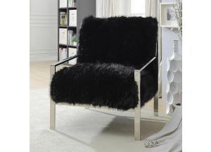 Birr Fur-Like Upholstered Chair Black