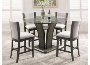 Camelia Counter Height Table/4 Grey Stools