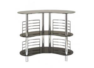 Bar Table Tempered Glass Chrome/Black