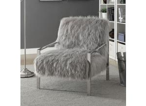Birr Fur-Like Upholstered Chair Grey