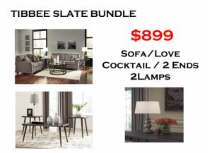 BUNDLE / Tribbee Slate Sofa / Love Cafe Coffee 2 Ends/ 2 Lamps