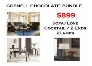 BUNDLE / Gosnell Chocolate Sofa / Love/ Coffee 2 Ends/ 2 Lamps