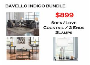 BUNDLE / Bavello Indigo Sofa / Love Black Coffee 2 Ends/ 2 Lamps