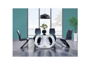 Black/White Glass 5 Piece Dining Set