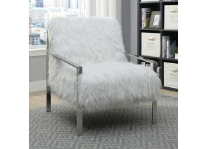 Birr Fur-Like Upholstered Chair White
