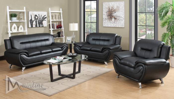 71350-1 Napoli Black Faux Leather Sofa and Loveseat,Mainline