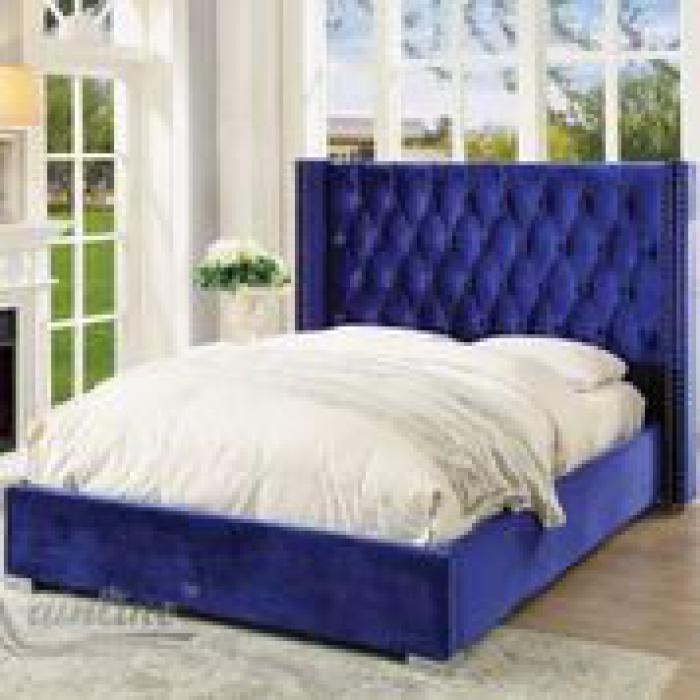 89962 Forza Queen Upholstered Platform Bed In Navy Blue Brothers Fine Furniture