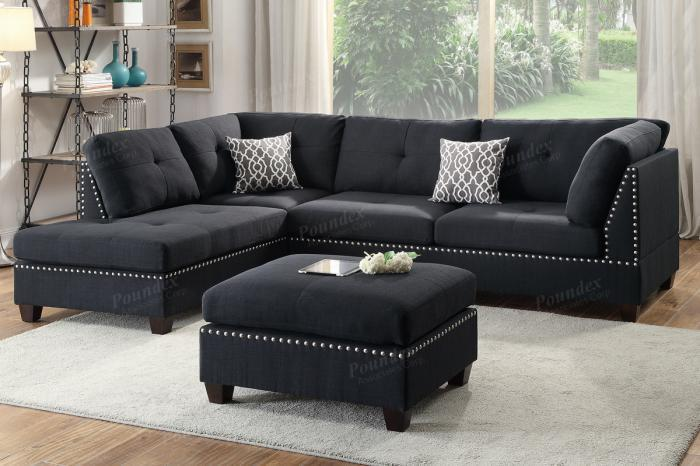 F6974 3 Piece Sectional With Reversible Chaise And Ottoman,Boss