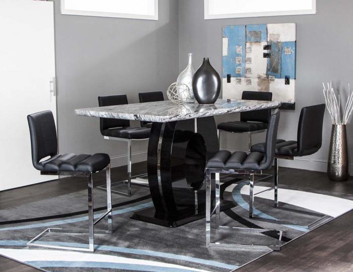 Brothers Fine Furniture Dyane 7 Piece Black Counter Height Pub Set