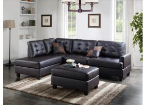 F6855, 2 Piece Sectional With Ottoman In Espresso