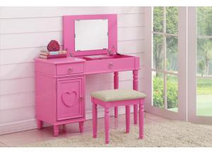F4176 Pink Vanity With Stool