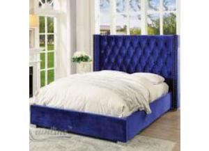 89962, Forza Queen Upholstered Platform Bed in Navy Blue