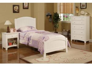 F9049 White Twin Headboard, Footboard & Rails