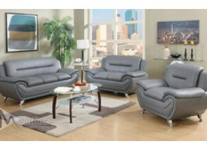 71357-8 Napoli Gray Faux Leather Sofa and Loveseat