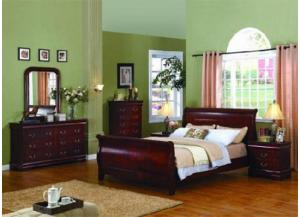 5933 Queen Size Cherry Louis Phillipe Bed with Dresser, Mirror & 1 Nightstand