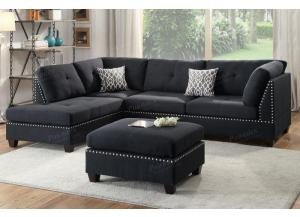 F6974 3 Piece Sectional With Reversible Chaise And Ottoman