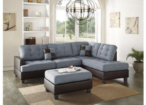 F6858 2 Piece Reversible Sectional With Ottoman