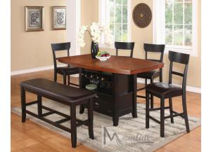 LaCuchina Counter Height Table with 4 Stools and 1 Bench