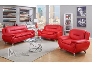 71354-5 Napoli Red Faux Leather Sofa and Loveseat