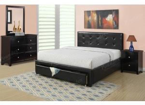F9313 Queen Headboard, Footboard, Rails With Storage Footboard