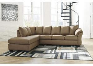 Darcy mocha Sectional and Ottoman (LAF)