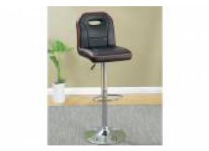 F1629 Black Bar Stool with Red Stripe