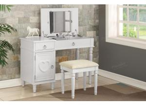 F4179 White Vanity With Storage And Stool