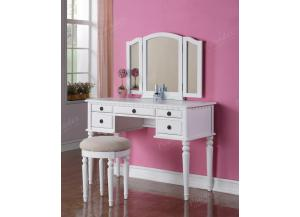 F4074 Whit Vanity With Stool