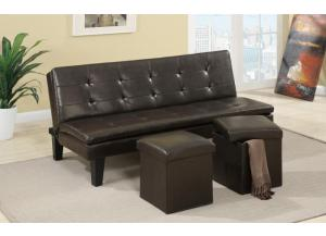 F7199 Adjustable Sofa Bed with 2 Storage Ottomans