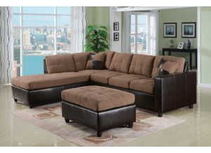 Oasis Reversible Saddle Sectional with Matching Ottoman