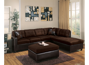 Mirage Reversible Chocolate Sectional with Matching Ottoman