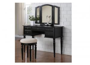 F4072 Black Vanity With Stool