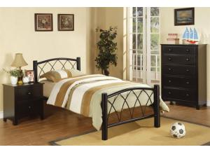 F9016T Black Twin Headboard, Footboard & Rails