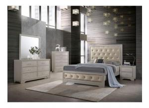 8133A, Queen Champagne/Silver Bedroom Set