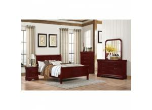 Louis Phillipe Cherry Queen Headboard, Footboard, Rails, Dresser, Mirror, 1 Night Stand