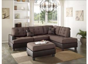 F6857 2 Piece Brow Fabric Sectional With Ottoman,Boss