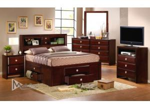 80905, Versa Queen Bookcase Bed W/Underbed Storage