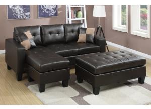 F6927  Espresso 2 Piece Sectional With Ottoman