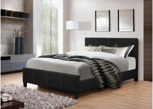 Black Leather Full Bed Frame