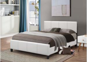 White Leather King Bed Frame