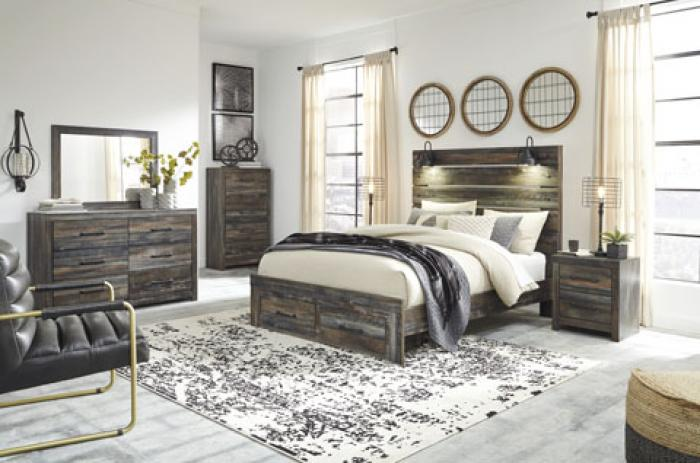 Drystan Queen Panel Bed w/ Storage Footoboard, Dresser, Mirror, Chest, and Nightstand,Ashley Clearance