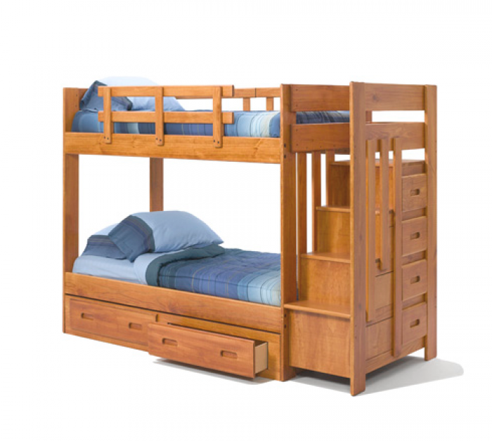 Heartland 2600 Staircase Bunkbed w/o Trundle,Woodcrest