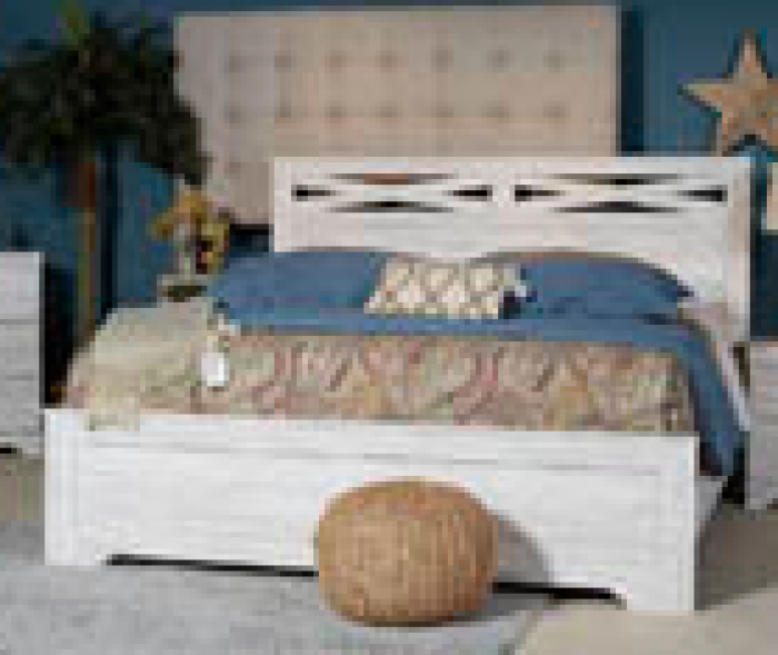 Briartown Whitewash King Panel Bed,Ashley Clearance