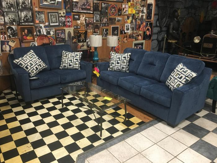 Ashley Blue Sofa and Loveseat,Ashley Clearance