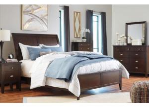Evanburg Brown Queen Sleigh Bed w/Dresser, Mirror, Drawer Chest & Nightstand