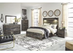 Drystan Queen Panel Bed w/ Storage Footoboard, Dresser, Mirror, Chest, and Nightstand