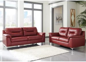 Tensas Crimson Sofa & Loveseat