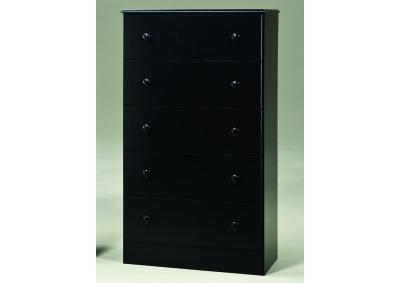 5 Drawer Fully Assembled Black Chest