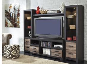 Ashley Harlinton TV Stand with Towers and Bridge