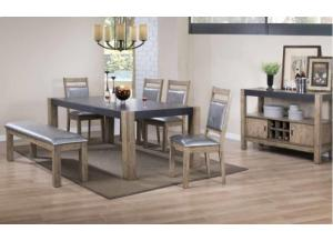 Dark Concrete/Antique Natural Dining Table w/ 8 Side Chairs
